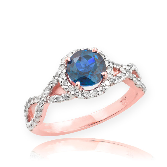 Rose Gold Blue Topaz Birthstone Infinity Ring with Diamonds
