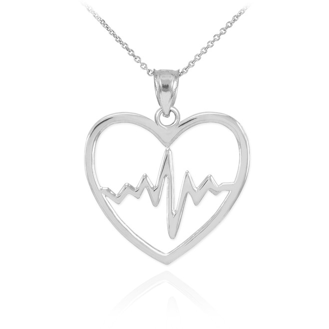 White Gold Heartbeat Pulse Pendant Necklace