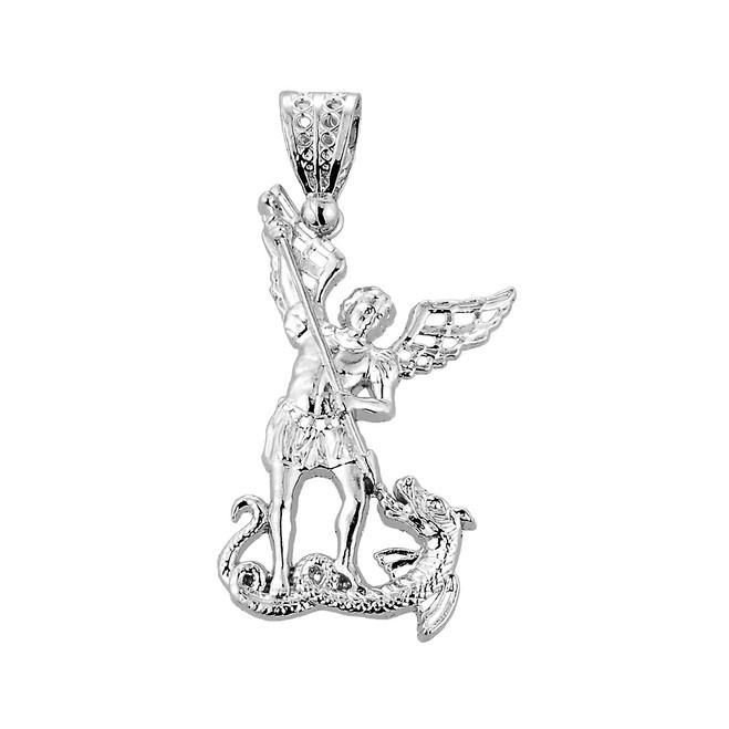 Medium Sterling Silver St. Michael vs Dragon Pendant