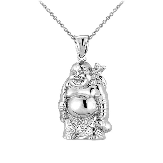 3D Sterling Silver Laughing Buddha Pendant Necklace