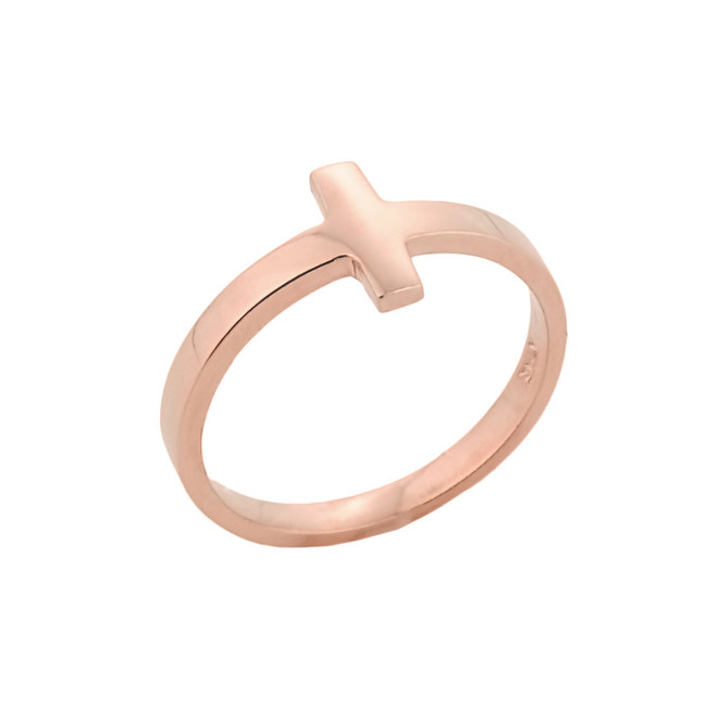 Rose Gold Sideways Cross Knuckle Ring