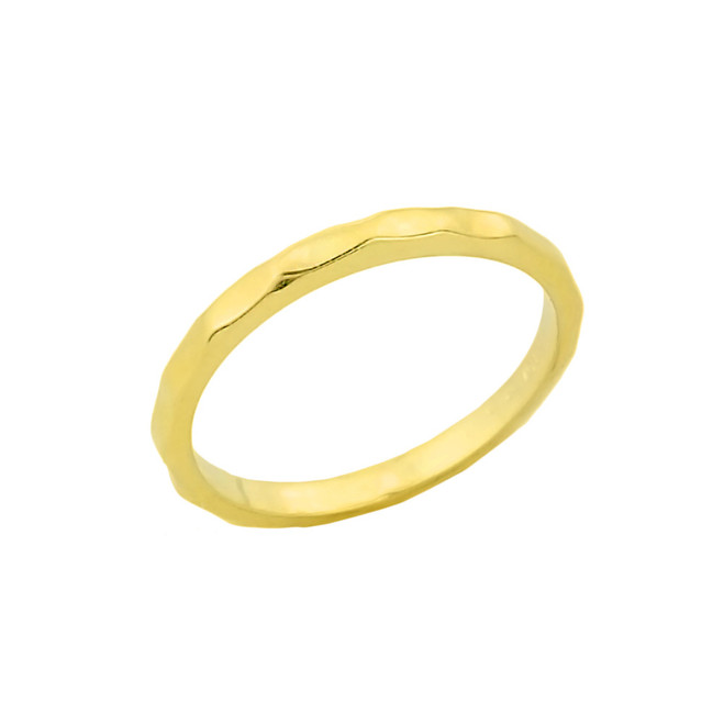 Gold Hammered Knuckle Ring