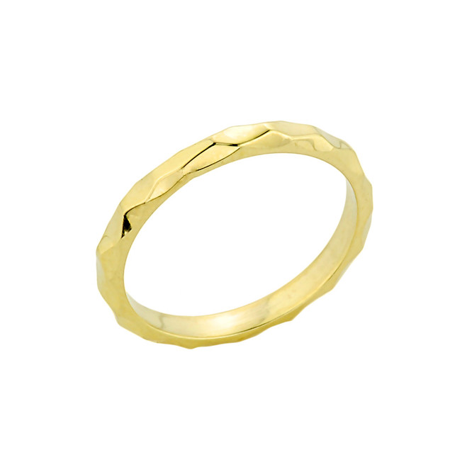 Gold Textured Spike Stackable Ring