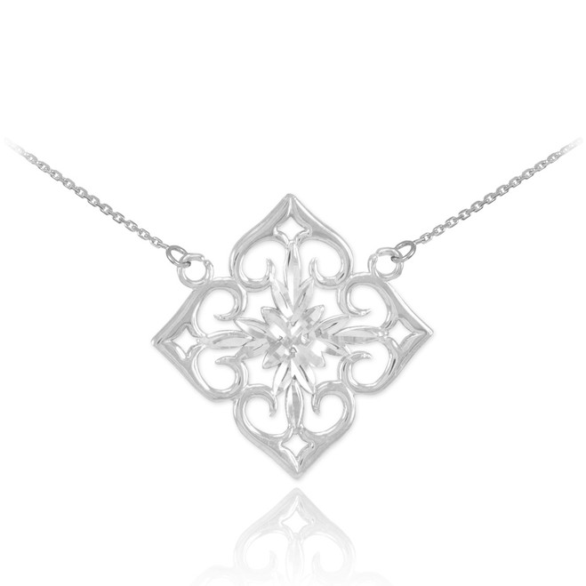 Sterling Silver Diamond Cut Flower Necklace