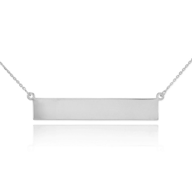 Sterling Silver Engravable Name Bar Necklace