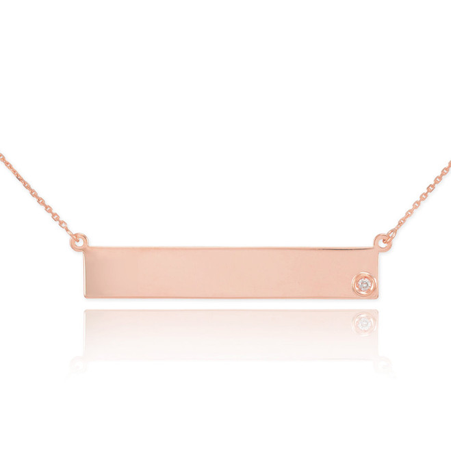 14k Rose Gold Engravable Name Bar Necklace with Diamond
