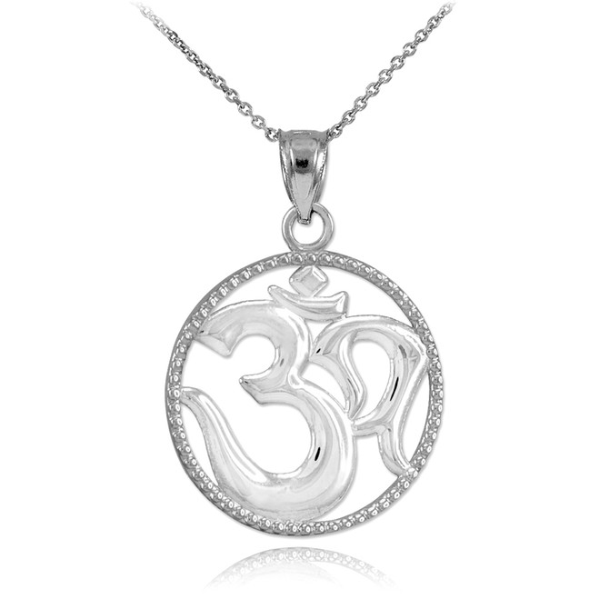 Polished White Gold Om Symbol Charm Pendant Necklace