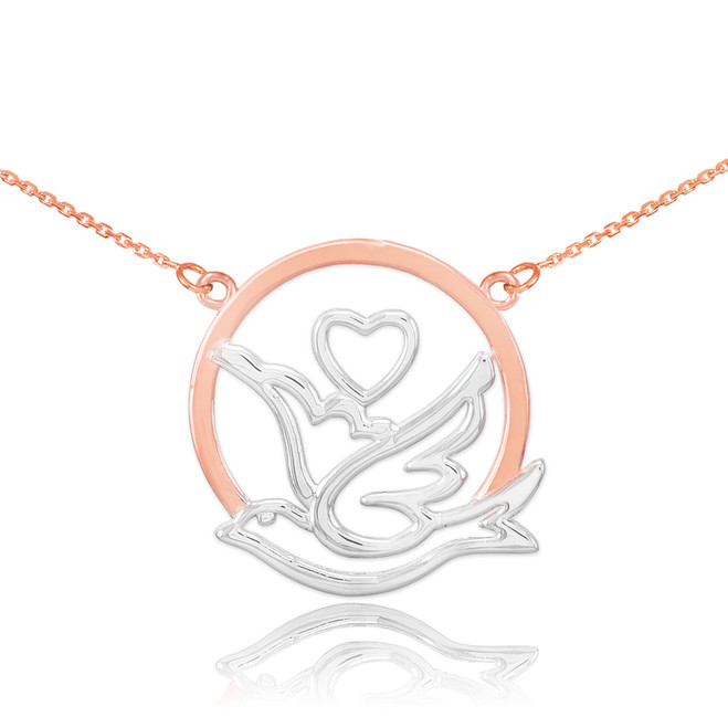 14k Two-Tone Rose Gold Dove with Heart Necklace