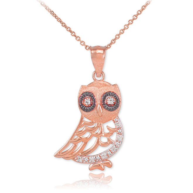 Rose Gold Owl Pendant Necklace with Diamonds