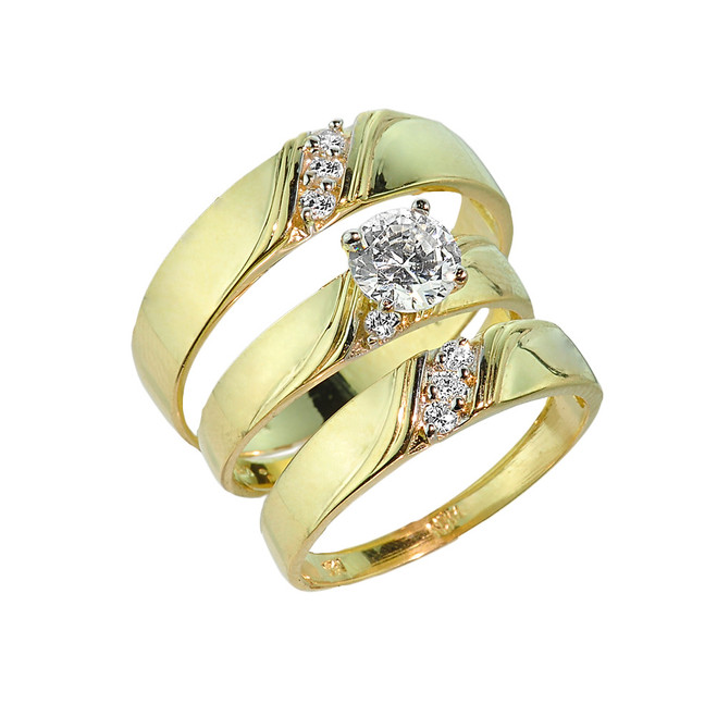 3-Piece Gold CZ Wedding Ring Set