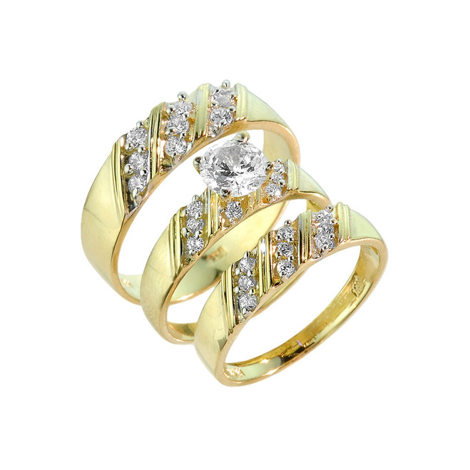 gold cz 3 piece wedding ring set - 3 Piece Wedding Rings