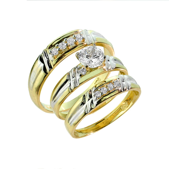 Gold CZ Wedding Ring 3-Piece Set