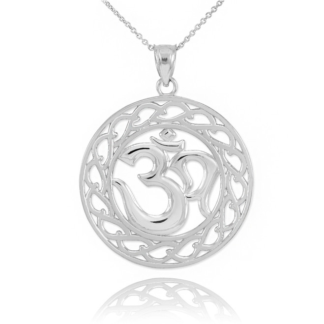Sterling Silver Om Symbol Pendant Necklace