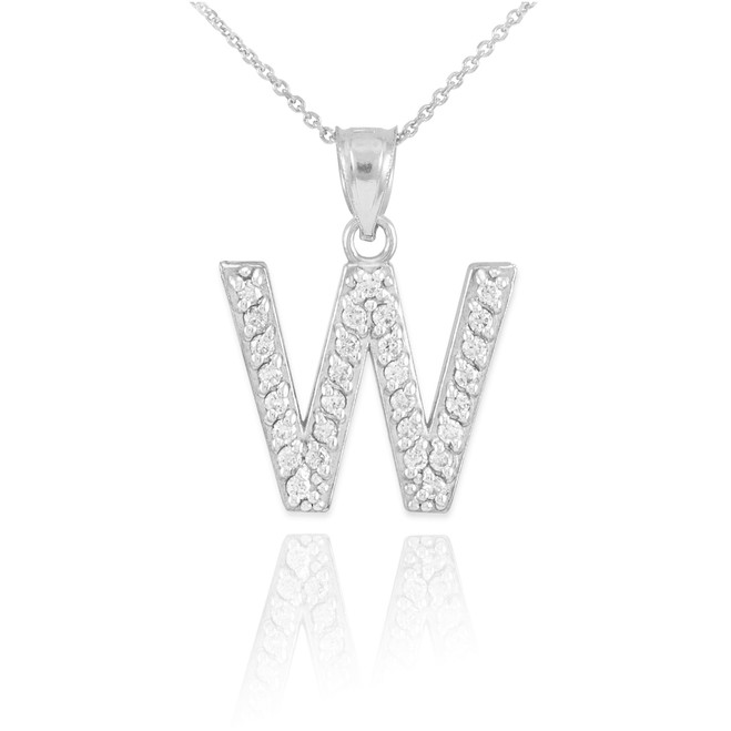 "White Gold Letter ""W"" Initial Diamond Monogram Pendant Necklace"