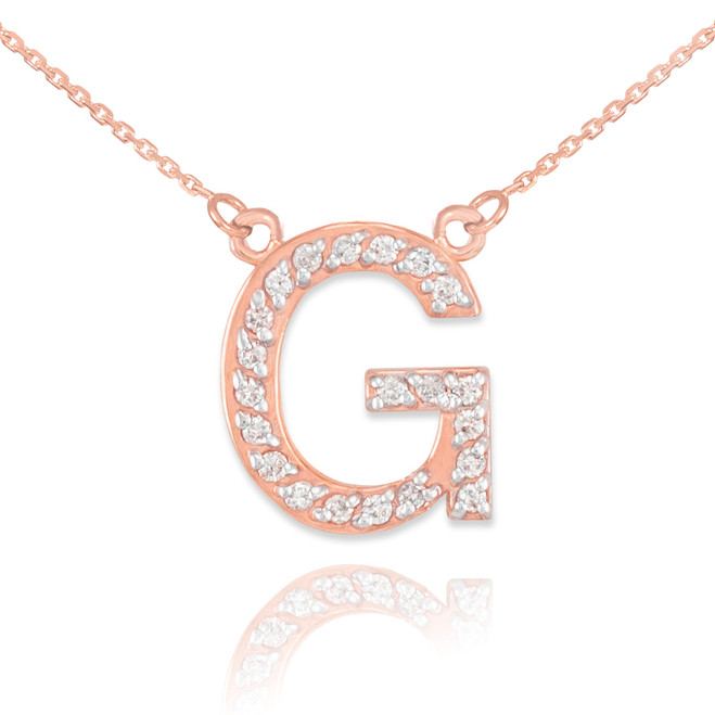 "14k Rose Gold Letter ""G"" Diamond Initial Necklace"