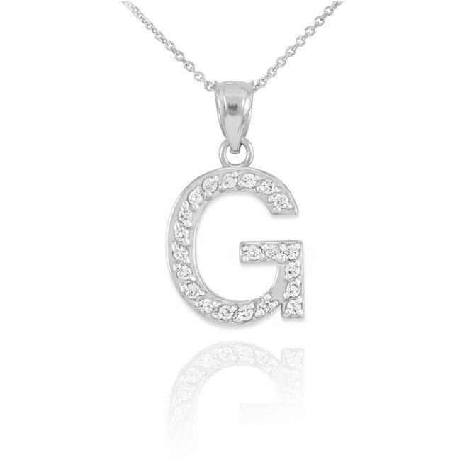 "White Gold Letter ""G"" Diamond Initial Pendant Necklace"