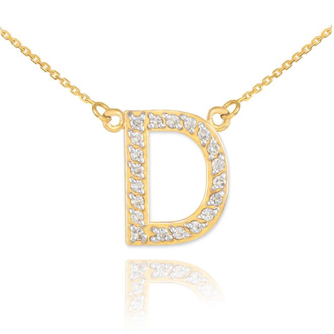 "14k Gold Letter ""D"" Diamond Initial Necklace"