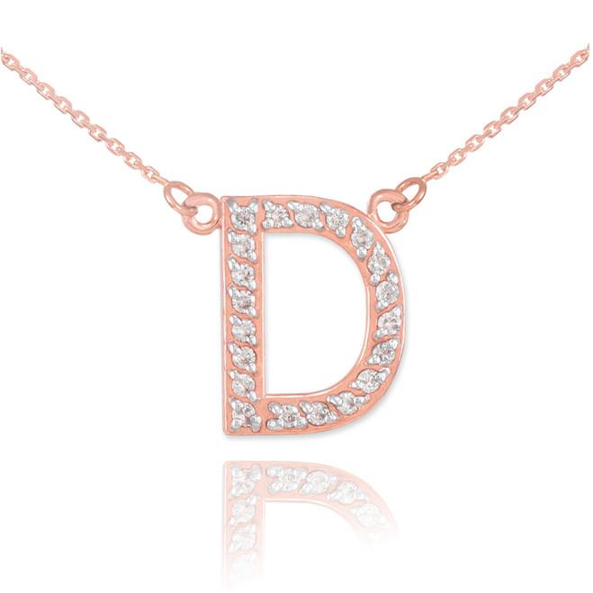 "14k Rose Gold Letter ""D"" Diamond Initial Necklace"