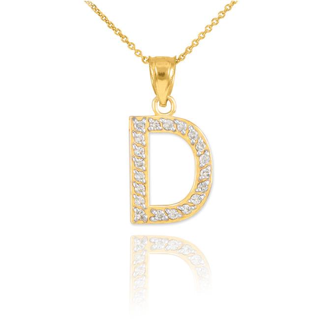 """Gold Letter """"D"""" Diamond Initial Pendant Necklace"""
