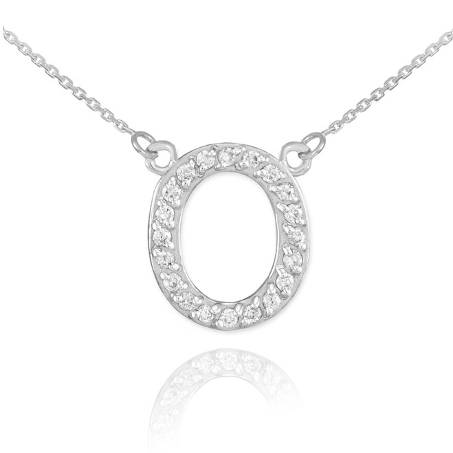 """14k White Gold Letter """"O"""" Diamond Initial Necklace"""