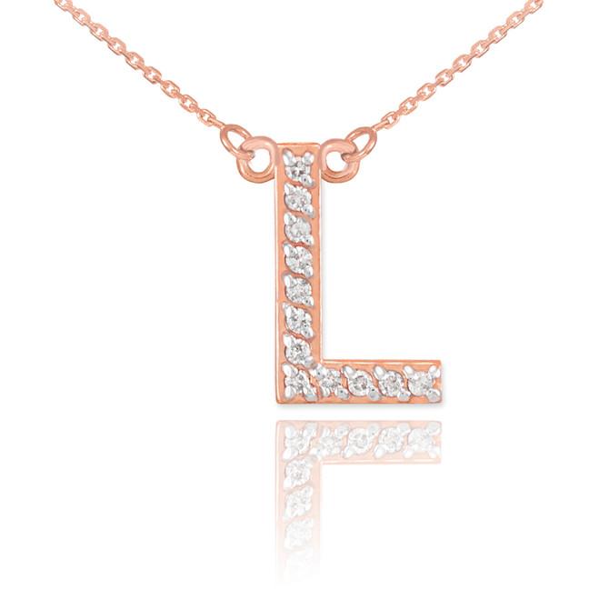 "14k Rose Gold Letter ""L"" Diamond Initial Necklace"