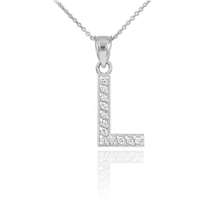 "White Gold Letter ""L"" Diamond Initial Pendant Necklace"