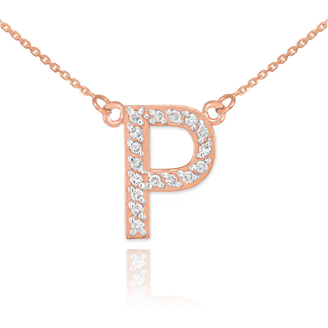 """14k Rose Gold Letter """"P"""" Diamond Initial Necklace"""
