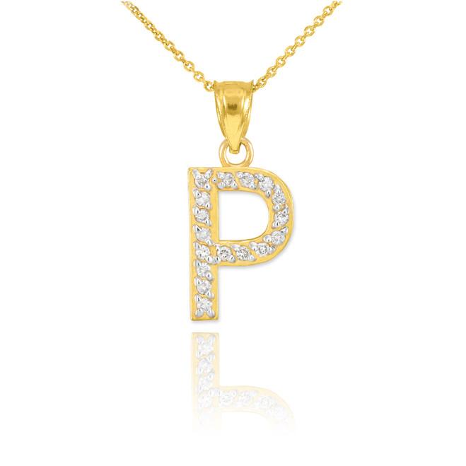 "Gold Letter ""P"" Diamond Initial Pendant Necklace"