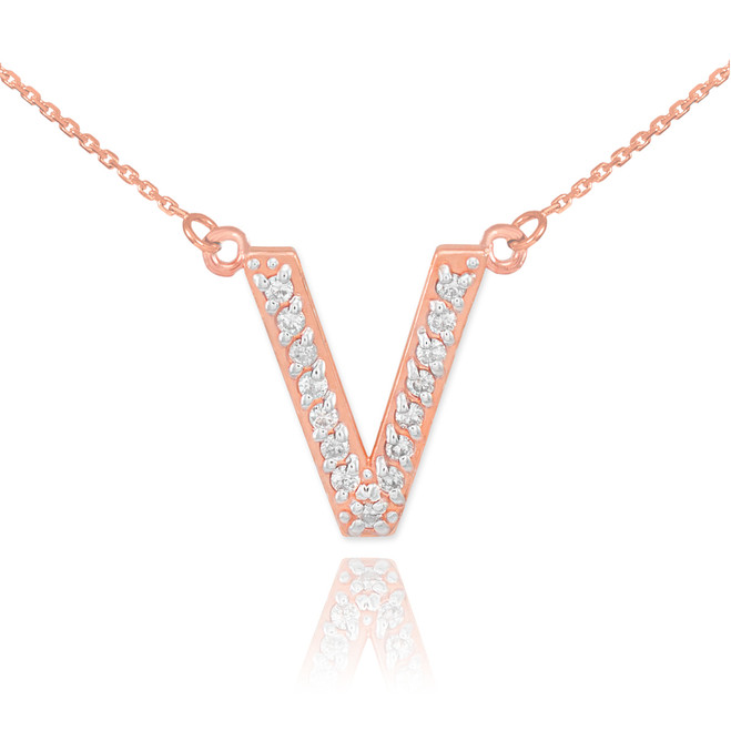"14k Rose Gold Letter ""V"" Diamond Initial Necklace"