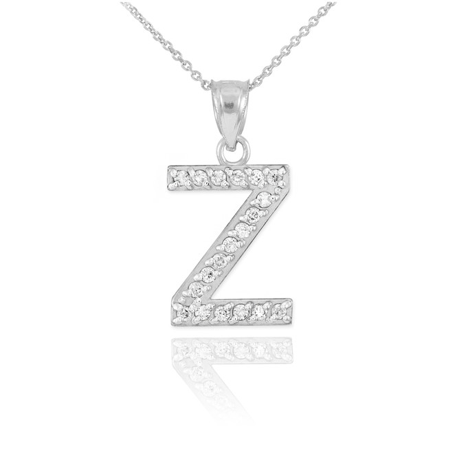 "White Gold Letter ""Z"" Diamond Initial Pendant Necklace"