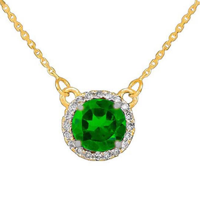 14k Gold Diamond Emerald Necklace