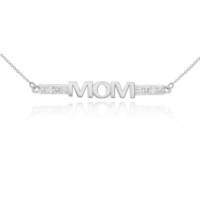 14k White Gold Diamond MOM Necklace