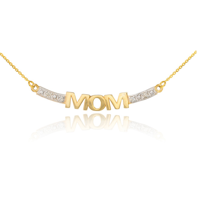 14k Two-Tone Gold MOM Necklace with Diamonds