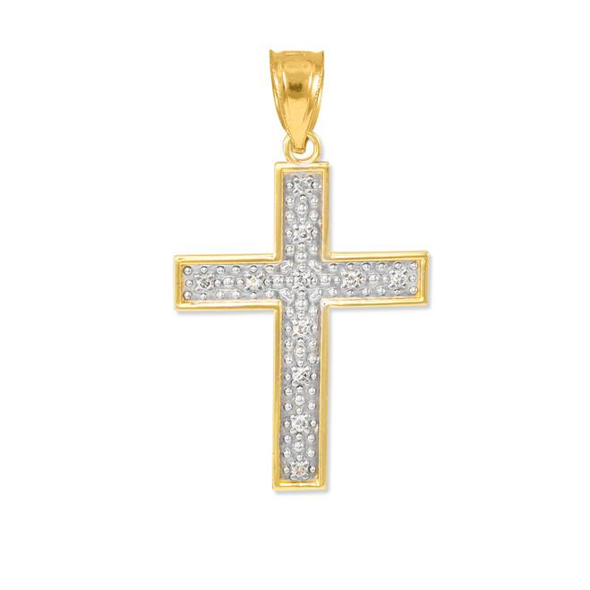 Gold Diamond Cross Small Pendant