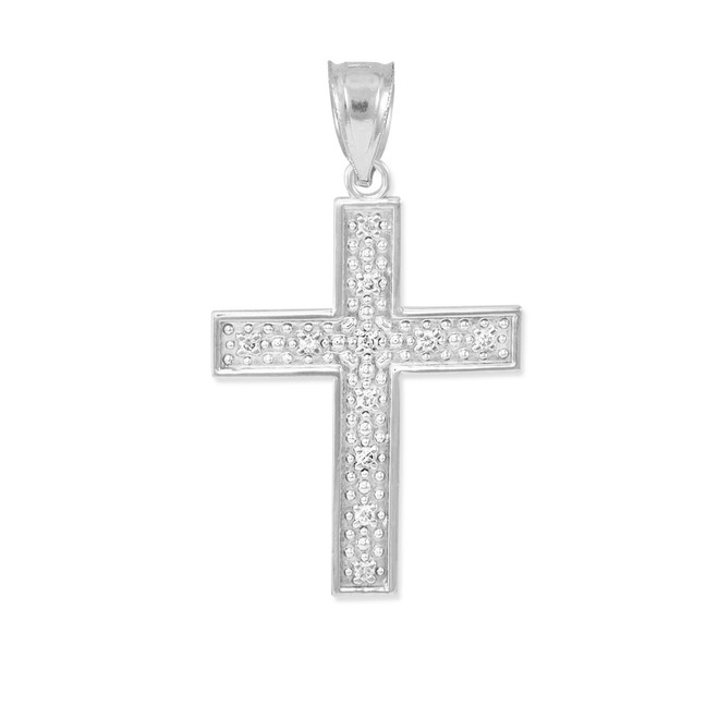 White Gold Diamond Cross Small Pendant