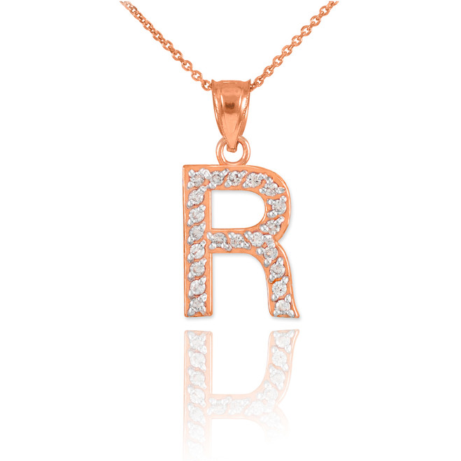 "Rose Gold Letter ""R"" Diamond Initial Pendant Necklace"