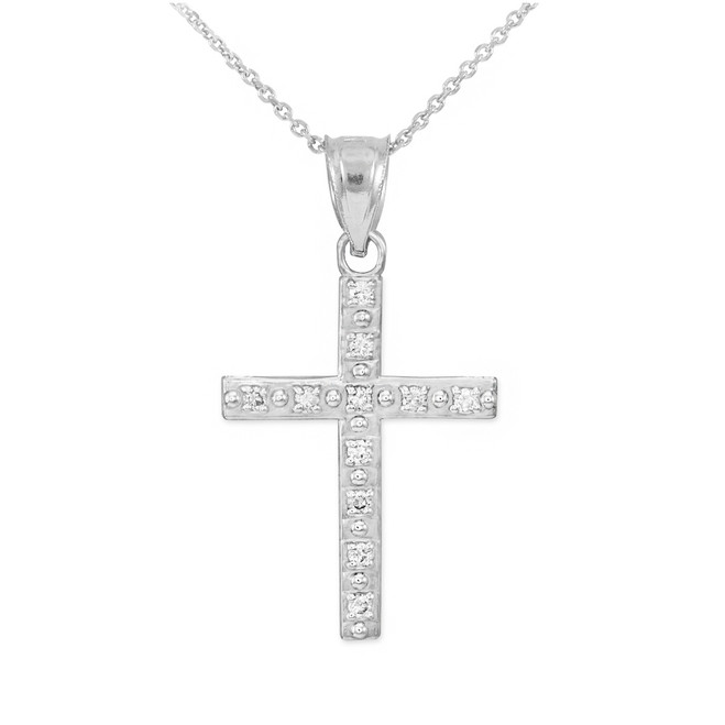 White Gold Cross Pendant Necklace with Diamonds