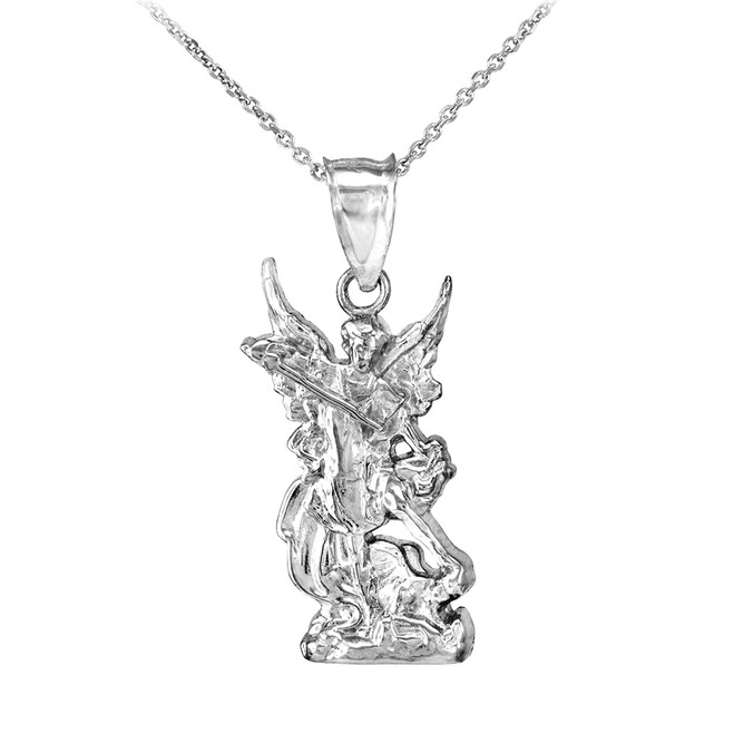 Polished White Gold St. Michael Pendant Necklace