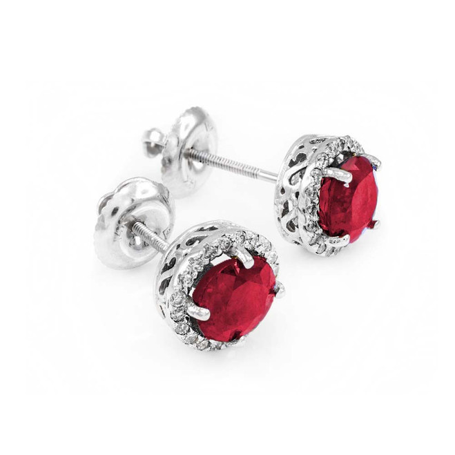 14k White Gold Diamond Ruby Earrings