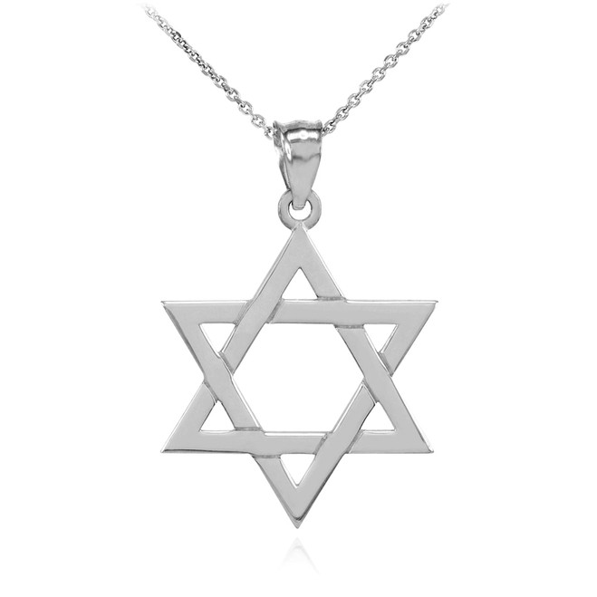 Sterling Silver Jewish Star of David Charm Pendant Necklace