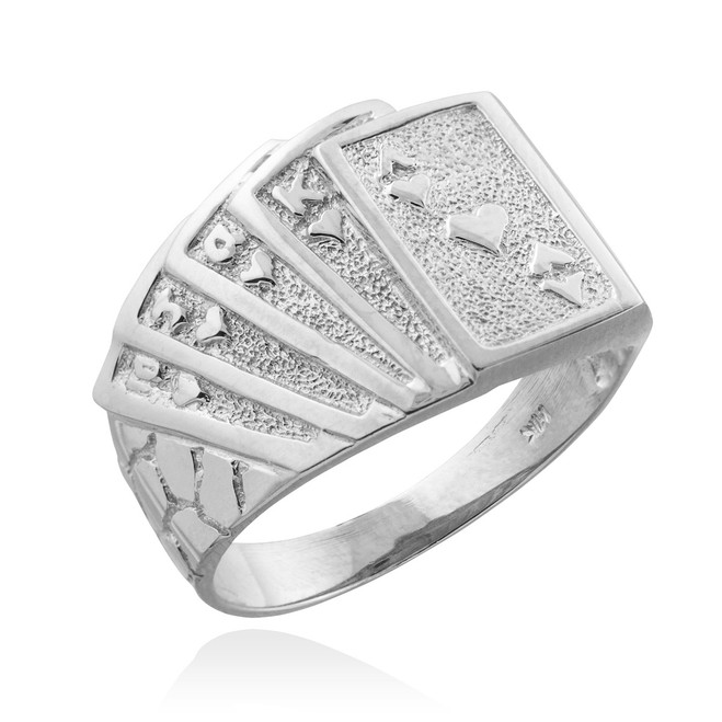 Sterling Silver Royal Flush Poker Nugget Ring
