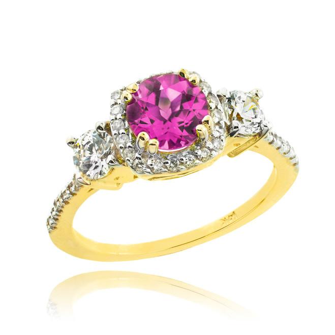 Gold Alexandrite Diamond Engagement Ring
