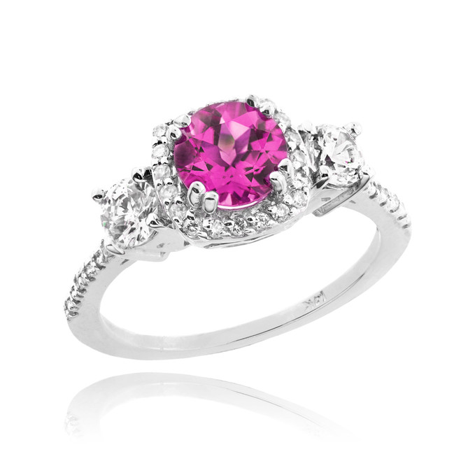 White Gold Alexandrite Diamond Engagement Ring