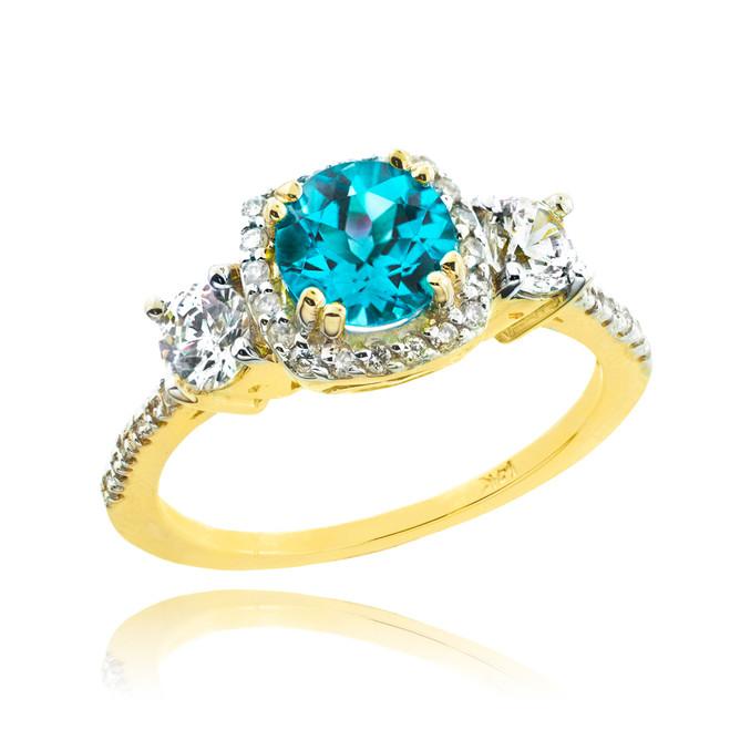 Gold Aquamarine Diamond Engagement Ring