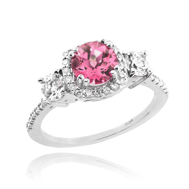 White Gold Pink Zirconia Diamond Engagement Ring