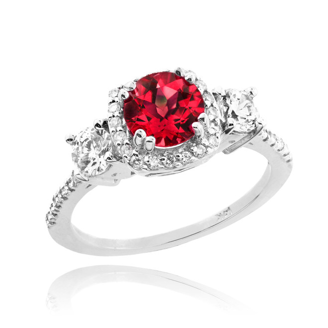 White Gold Ruby Diamond Engagement Ring
