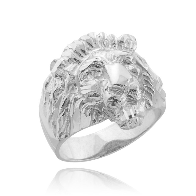 Men's Solid White Gold Lion Head Ring