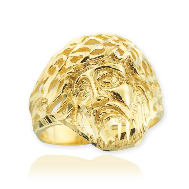 Gold Jesus Face Diamond Cut Ring