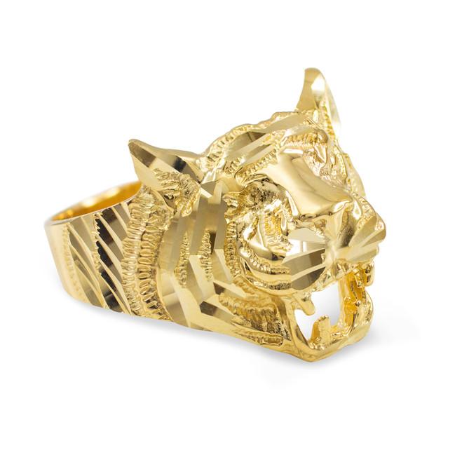 Unisex Gold Diamond Cut Tiger Ring