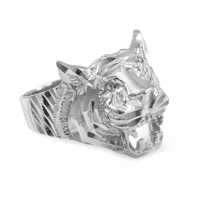 Unisex Sterling Silver Diamond Cut Tiger Ring